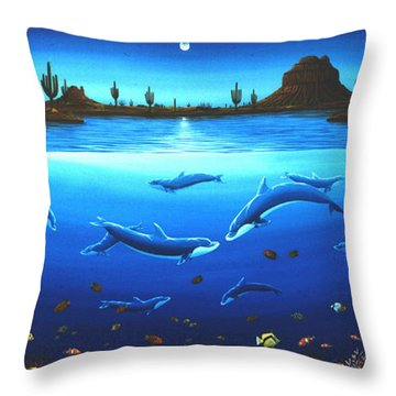Desert Dolphins Throw Pillow by Lance Headlee