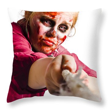 Determined Woman With Rope Throw Pillow