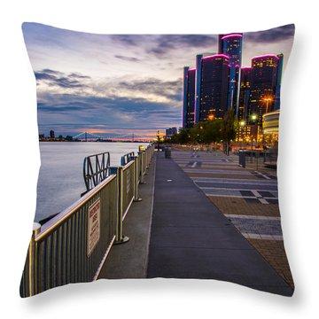 Detroit River Walk Throw Pillow