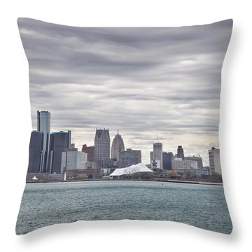Detroit Skyline From Belle Isle Throw Pillow by John McGraw
