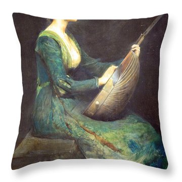 Dewing's Lady With A Lute Throw Pillow by Cora Wandel