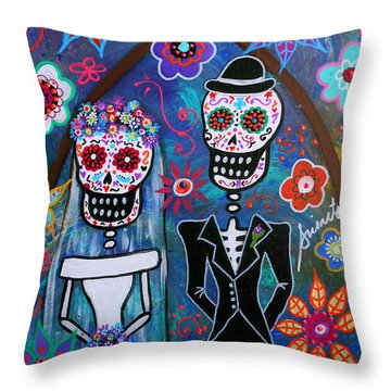 Dia De Los Muertos Wedding Throw Pillow