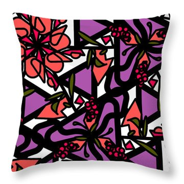 Throw Pillow featuring the digital art Digi-flora by Elizabeth McTaggart