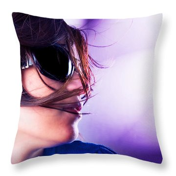 Disco Girl Throw Pillow by Michal Bednarek