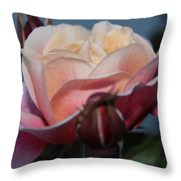 Distant Drum Rose Bloom Throw Pillow