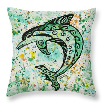 Throw Pillow featuring the painting Dolphin 2 by Darice Machel McGuire