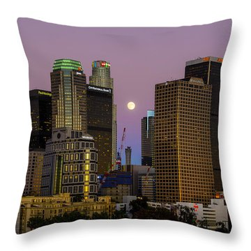 Downtown Los Angeles Moonrise Throw Pillow by Joe Doherty