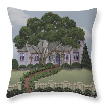 Dragonfly Cottage Throw Pillow by Catherine Holman