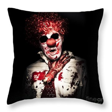 Dramatic Sinister Clown Getting Strangled By Hand Throw Pillow