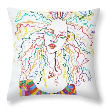 Throw Pillow featuring the painting Dreadlocks Piano Goddess by Stormm Bradshaw