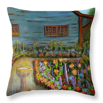Dream Garden Throw Pillow by Laurie Morgan