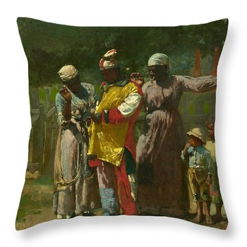 Dressing For The Carnival Throw Pillow by Winslow Homer