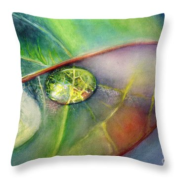 Throw Pillow featuring the painting Drops by Allison Ashton