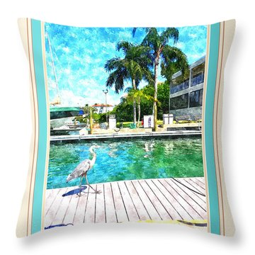 Dry Dock Bird Walk - Digitally Framed Throw Pillow