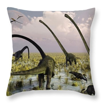 Duckbill Dinosaurs And Large Sauropods Throw Pillow by Mark Stevenson