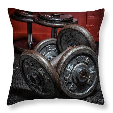 Dumbbells Throw Pillow by Verena Matthew