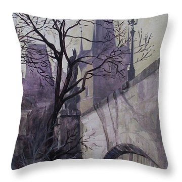 Throw Pillow featuring the painting Dusk At The Charles Bridge by Marina Gnetetsky