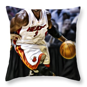 Dwayne Wade Throw Pillow by Don Olea