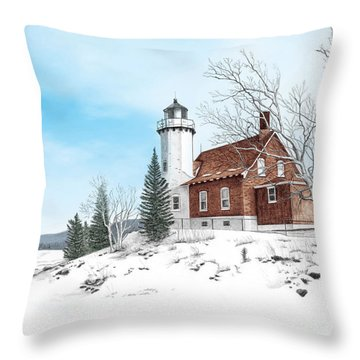 Eagle Harbor Lighthouse Throw Pillow by Darren Kopecky