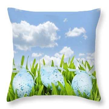Easter Eggs In Green Grass Throw Pillow