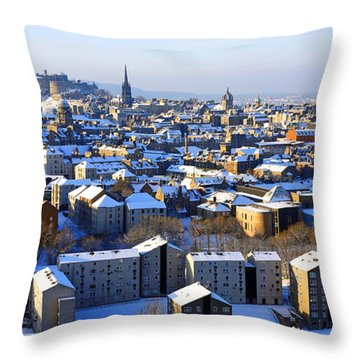 Edinburgh Winter Cityscape Throw Pillow by Craig B