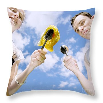 Egg And Spoon Race Throw Pillow