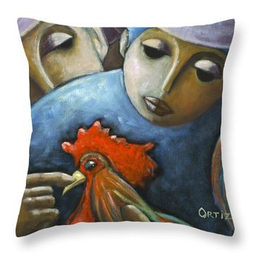 Throw Pillow featuring the painting El Gallo by Oscar Ortiz