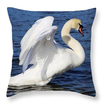 Elegant Mute Swan Throw Pillow