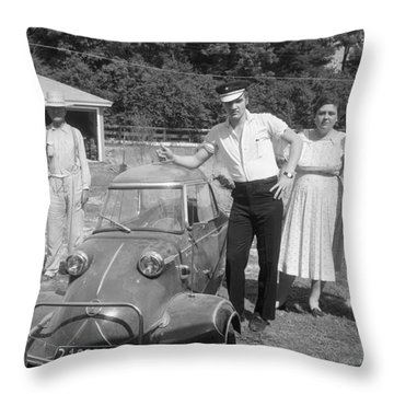 Elvis And His Messerschmitt With Vernon And Gladys Presley 1956 Throw Pillow by The Harrington Collection