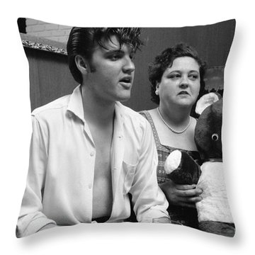 Elvis Presley And His Mother Gladys 1956 Throw Pillow