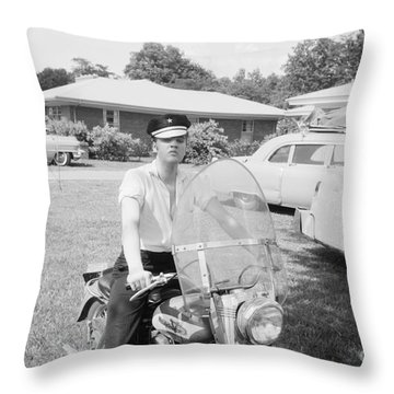 Elvis Presley Sitting On His 1956 Harley Kh Throw Pillow by The Harrington Collection