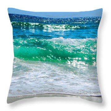Emerald Curl Throw Pillow by Linda Mesibov