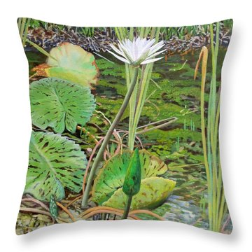 Emerald Lily Pond Throw Pillow by Caroline Street