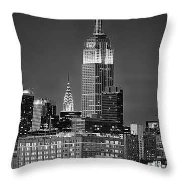 Empire And Chrysler Buildings Throw Pillow