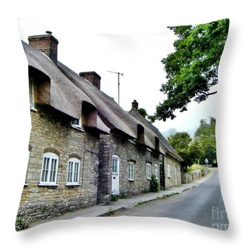 Throw Pillow featuring the photograph English Cottage by Katy Mei