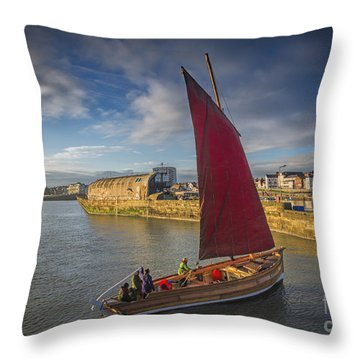 Entering Port Throw Pillow