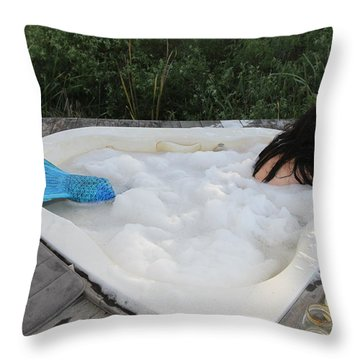 Everglades City Florida Mermaid 001 Throw Pillow by Lucky Cole