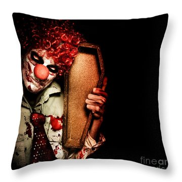 Evil Horrible Clown Holding Coffin In Darkness Throw Pillow