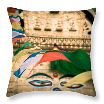 Eye Boudhanath Stupa In Nepal Throw Pillow by Raimond Klavins