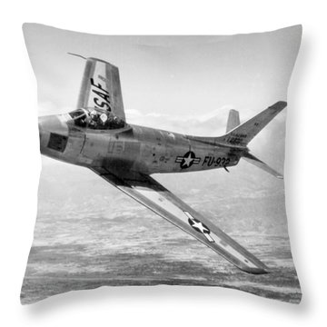 Throw Pillow featuring the photograph F-86 Sabre, First Swept-wing Fighter by Science Source