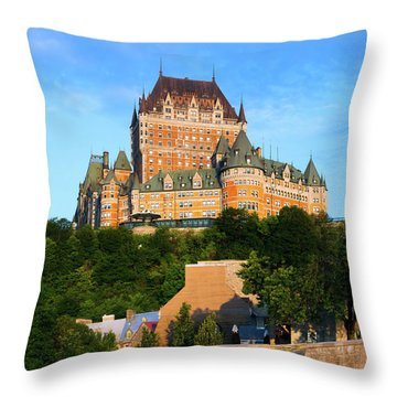 Facade Of Chateau Frontenac In Lower Throw Pillow