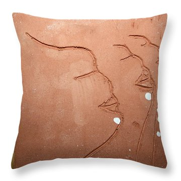 Faces - Tile Throw Pillow by Gloria Ssali