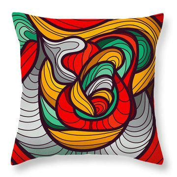 Faces Throw Pillow by Don Kuing