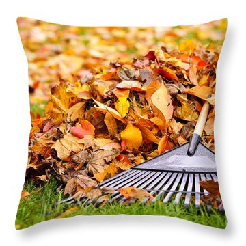 Fall Leaves With Rake Throw Pillow