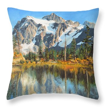 Throw Pillow featuring the painting Fall Reflections - Cascade Mountains by Mary Ellen Anderson