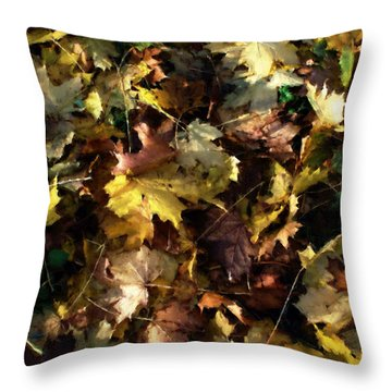 Throw Pillow featuring the digital art Fallen Leaves by Ron Harpham