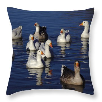 Family Goose Throw Pillow