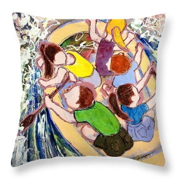 Family Vacation Throw Pillow by Marilyn Jacobson