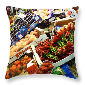 Farmers Market Florence Italy Throw Pillow