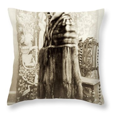 Throw Pillow featuring the photograph Fashion Fur, 1925 by Granger